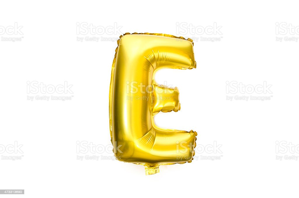 Golden Alphabet Foil Balloon Letter E stock photo