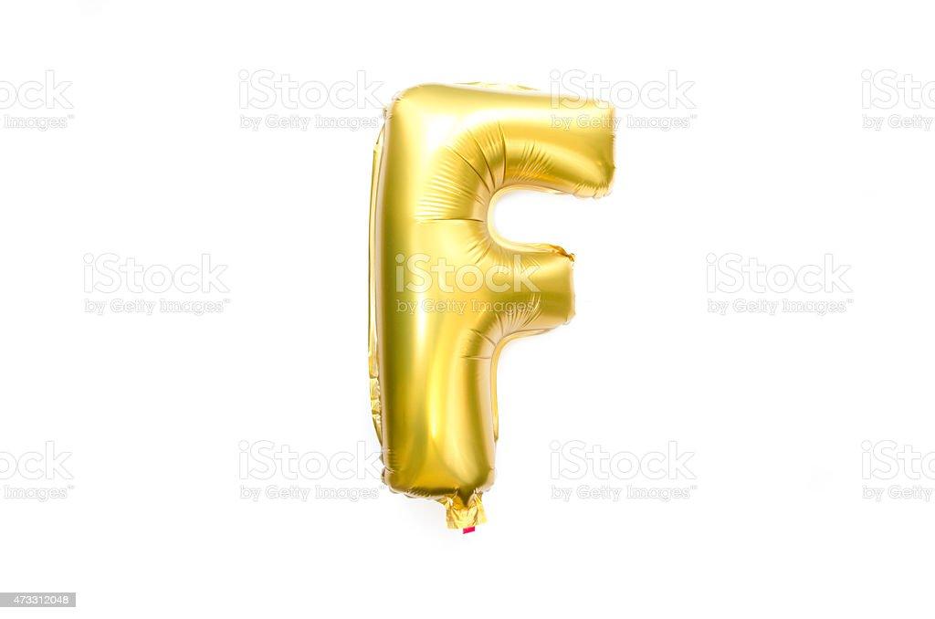 Goldene Alphabet Folie Balloon Buchstabe F – Foto