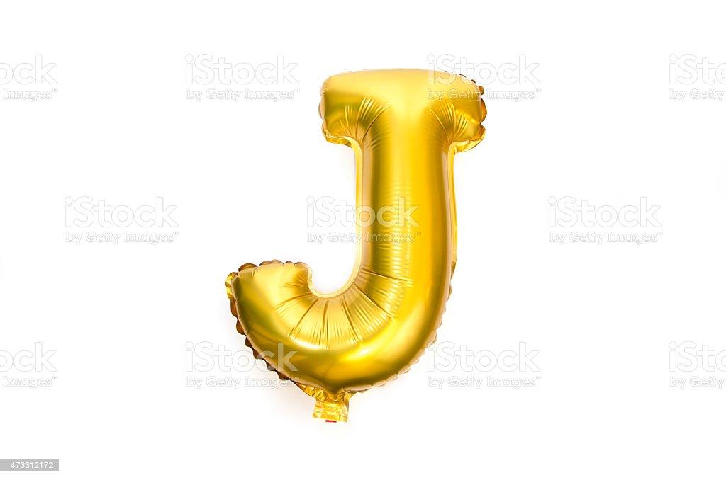 Golden Alphabet Foil Balloon Letter J stock photo