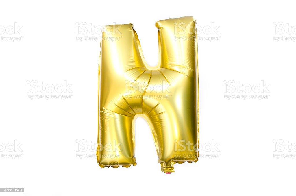 Golden Alphabet Foil Balloon Letter N stock photo