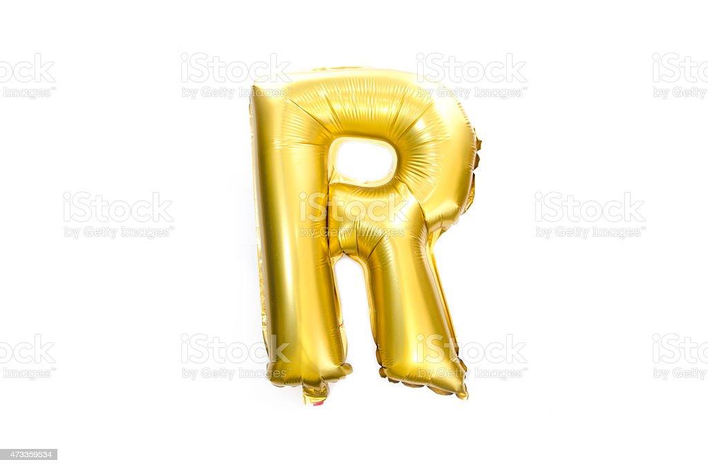 Golden Alphabet Foil Balloon Letter R stock photo