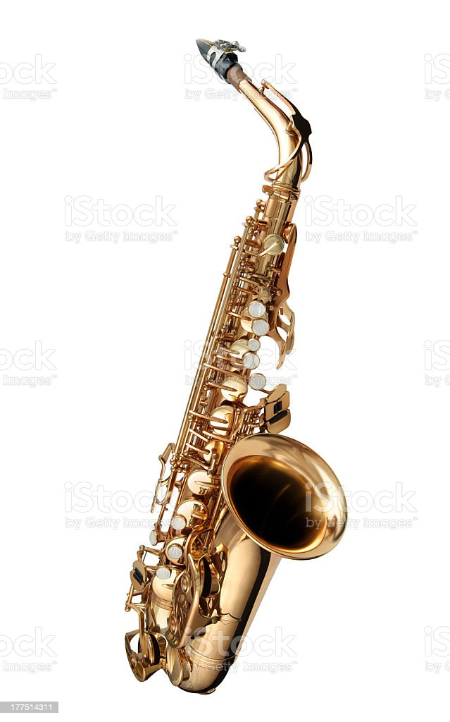 Golden alto saxophone is a Jazz instrument stock photo