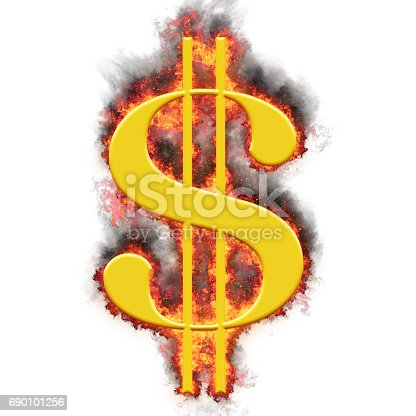 629796418 istock photo Golden American dollar symbol in bursting flames, isolated against the white background 690101256