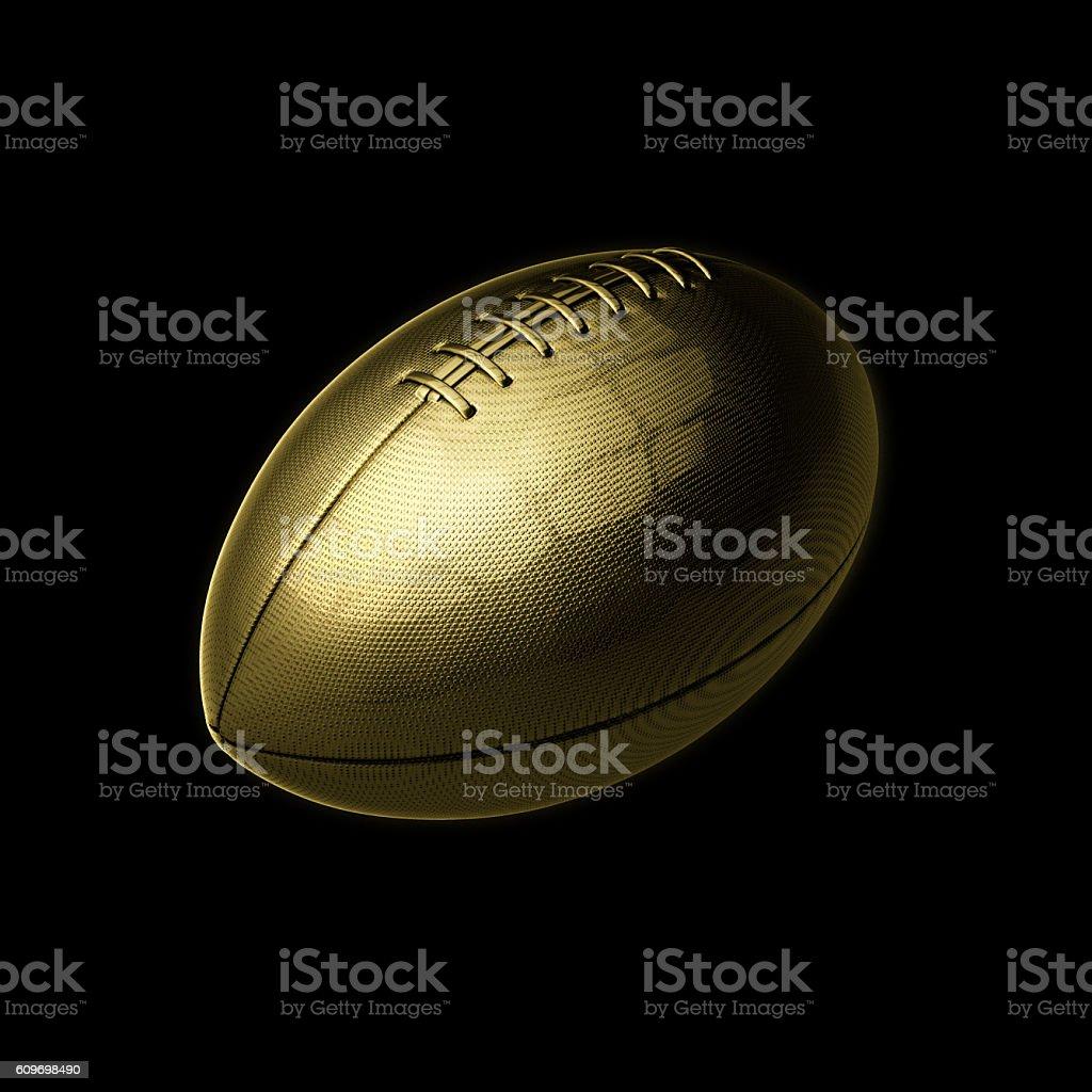 golden american football on black background stock photo