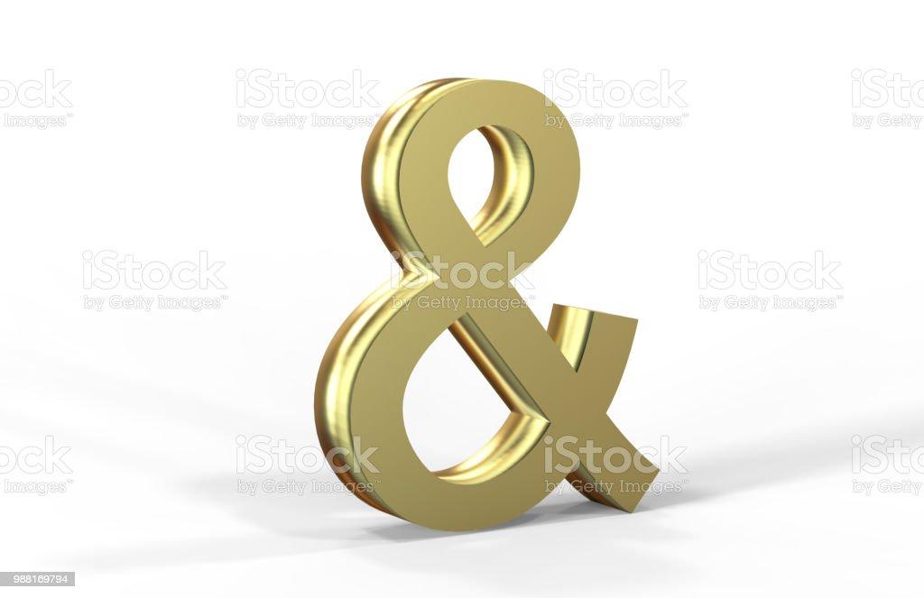 Golden Ampersand On White Background stock photo