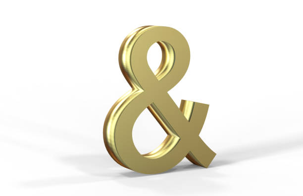golden ampersand on white background - ampersand stock pictures, royalty-free photos & images