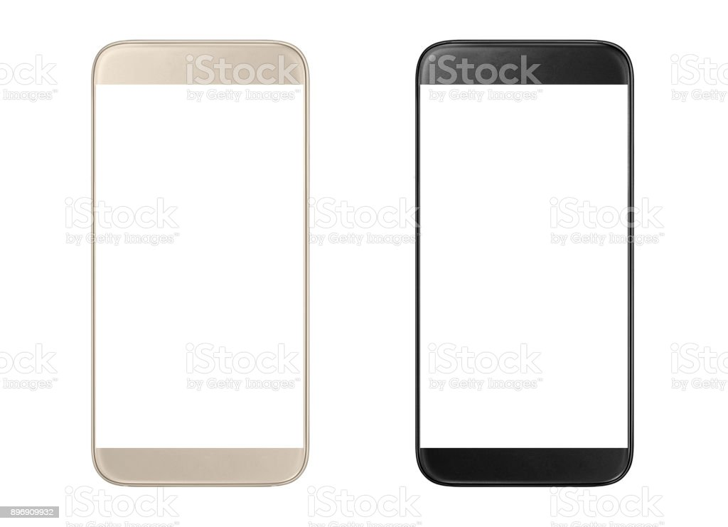 Golden and black modern smartphones stock photo