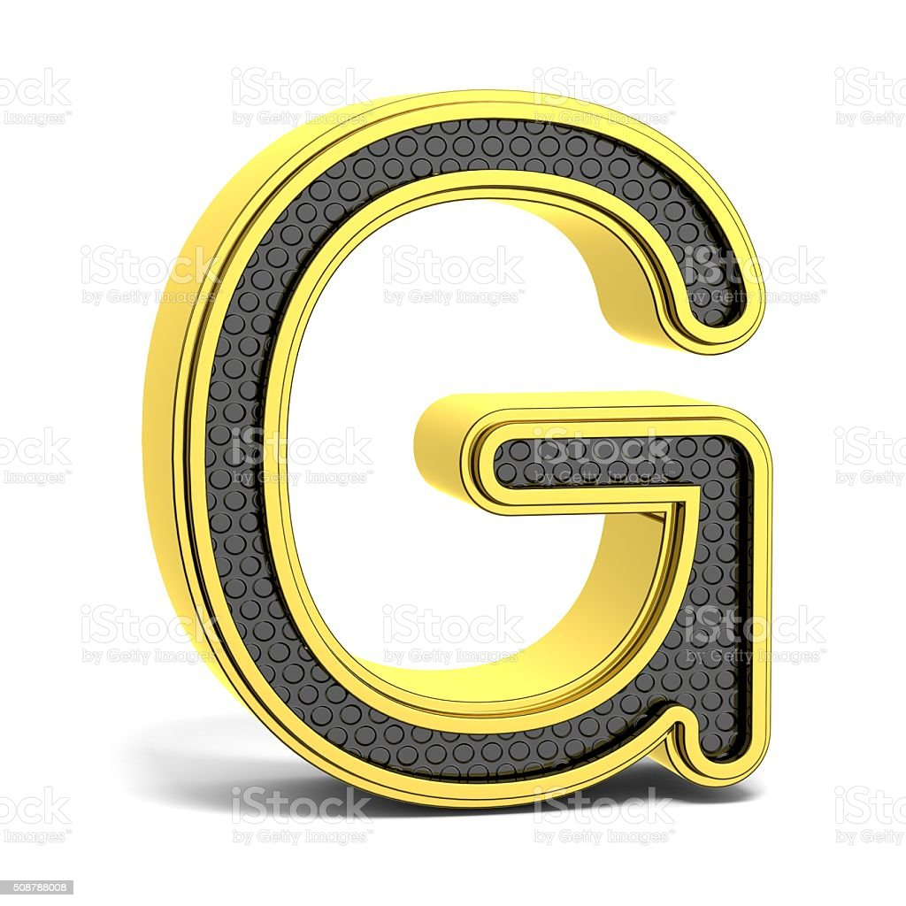 Golden and black round alphabet. Letter G. 3D stock photo