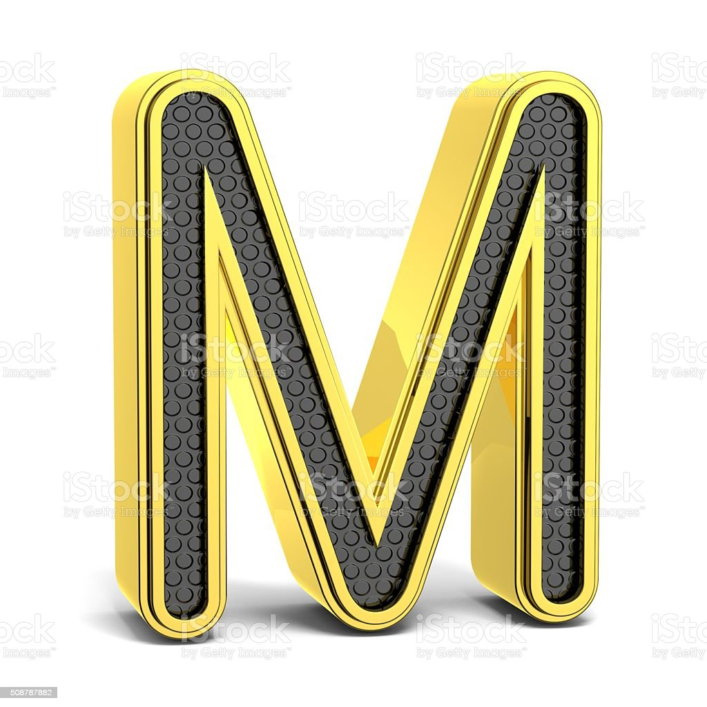 Golden and black round alphabet. Letter M. 3D stock photo