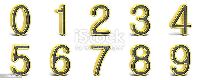 845307398istockphoto Golden and black round font numbers 3D 1056088290
