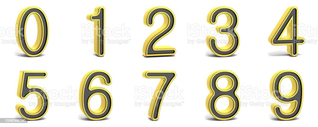 Golden and black round font numbers 3D stock photo