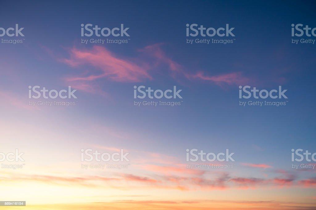 Golden and pink sunset horizon stock photo