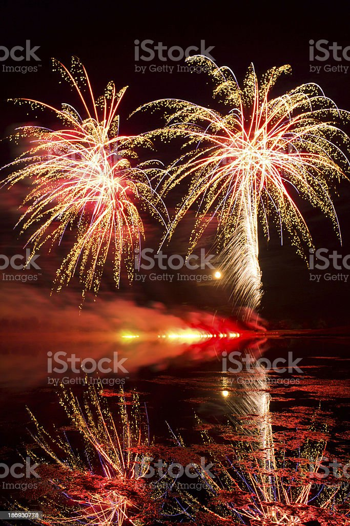 Golden and Red Fireworks royalty-free stock photo