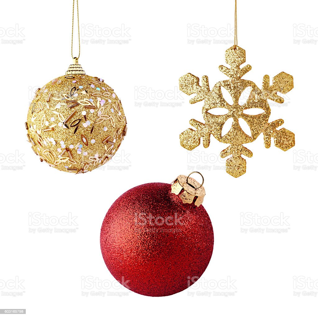 Golden and red xmas balls isolated stock photo