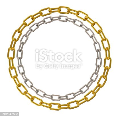 istock Golden and Silver Chains isolated on white background 502647535