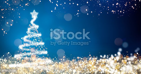 865140324 istock photo golden and silver lights with christmas tree on blue background,bright decoration for merry xmas greeting message.Elegant holiday season social post digital card.Copy type space for text or logo 875121230