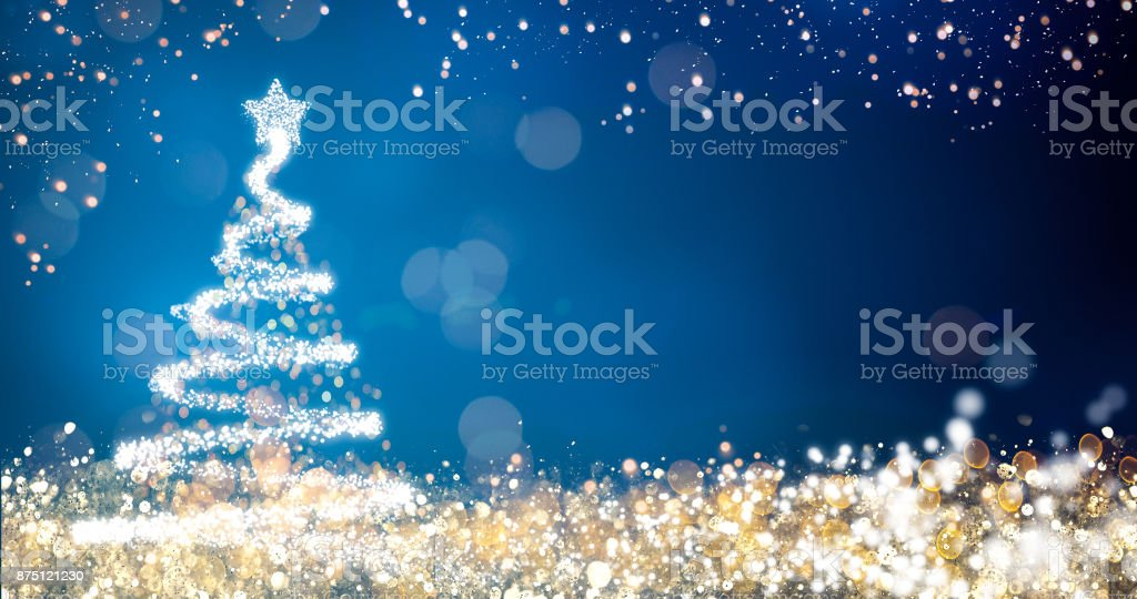 golden and silver lights with christmas tree on blue background,bright decoration for merry xmas greeting message.Elegant holiday season social post digital card.Copy type space for text or logo stock photo