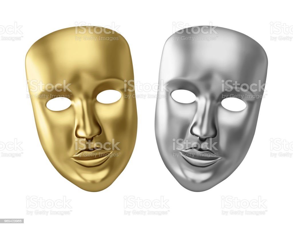 Golden and silver theatrical masks zbiór zdjęć royalty-free