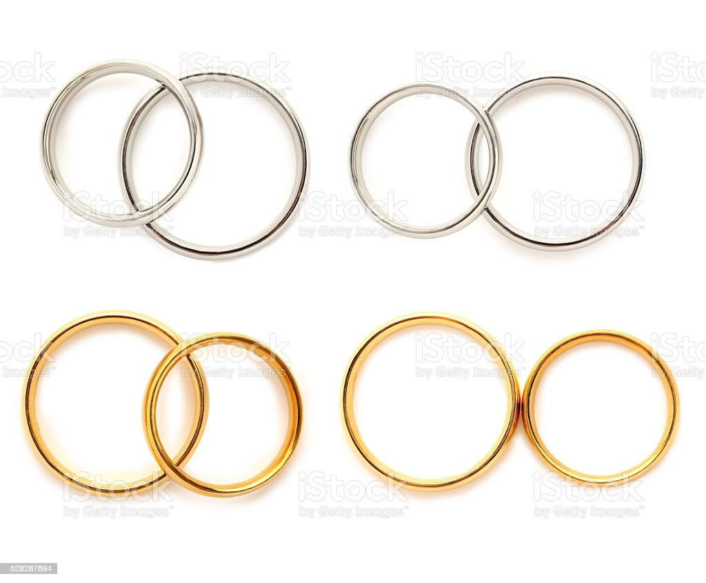 Golden and silver wedding rings isolated on a white, collage stock photo