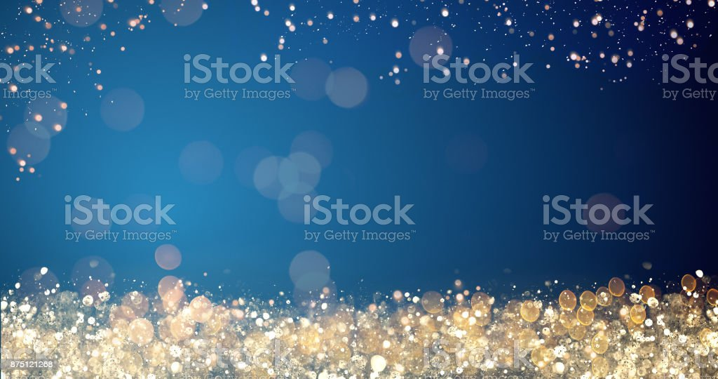 golden and silver xmas lights on blue background for merry christmas or season greetings message,bright decoration.Elegant holiday season social post digital card.Copy type space for text or logo stock photo