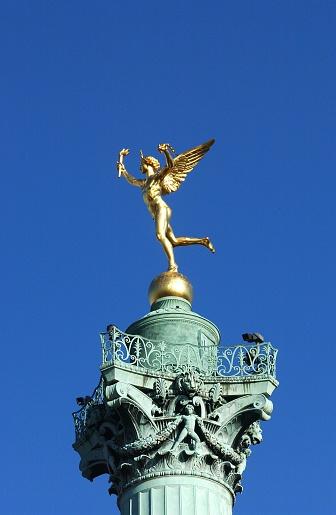 Golden Angel on the Top to the Column, Place de la Bastille in Paris