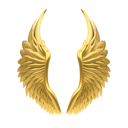 Golden Angel Wings isolated on white background. 3D render