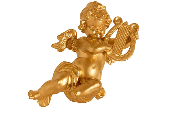 Golden ángel aislado con arpa - foto de stock