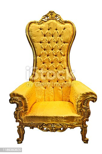 Baroque luxury golden armchair isolated on white background in close-up
