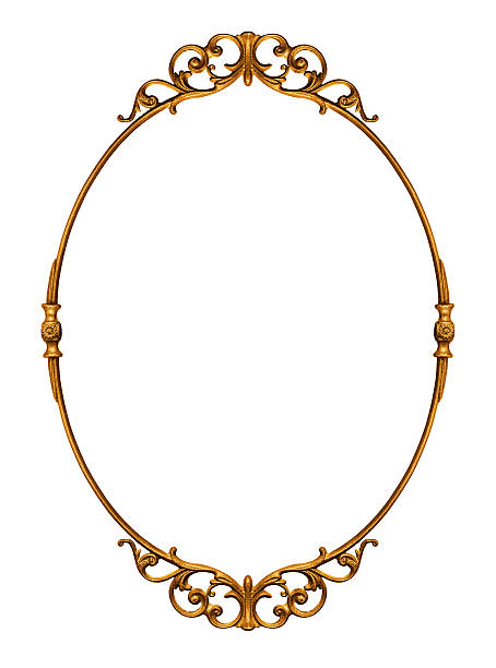 golden antique frame - ellipse stock photos and pictures