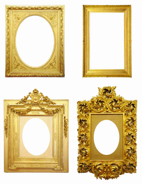 Golden Antique Frame Set stock photo