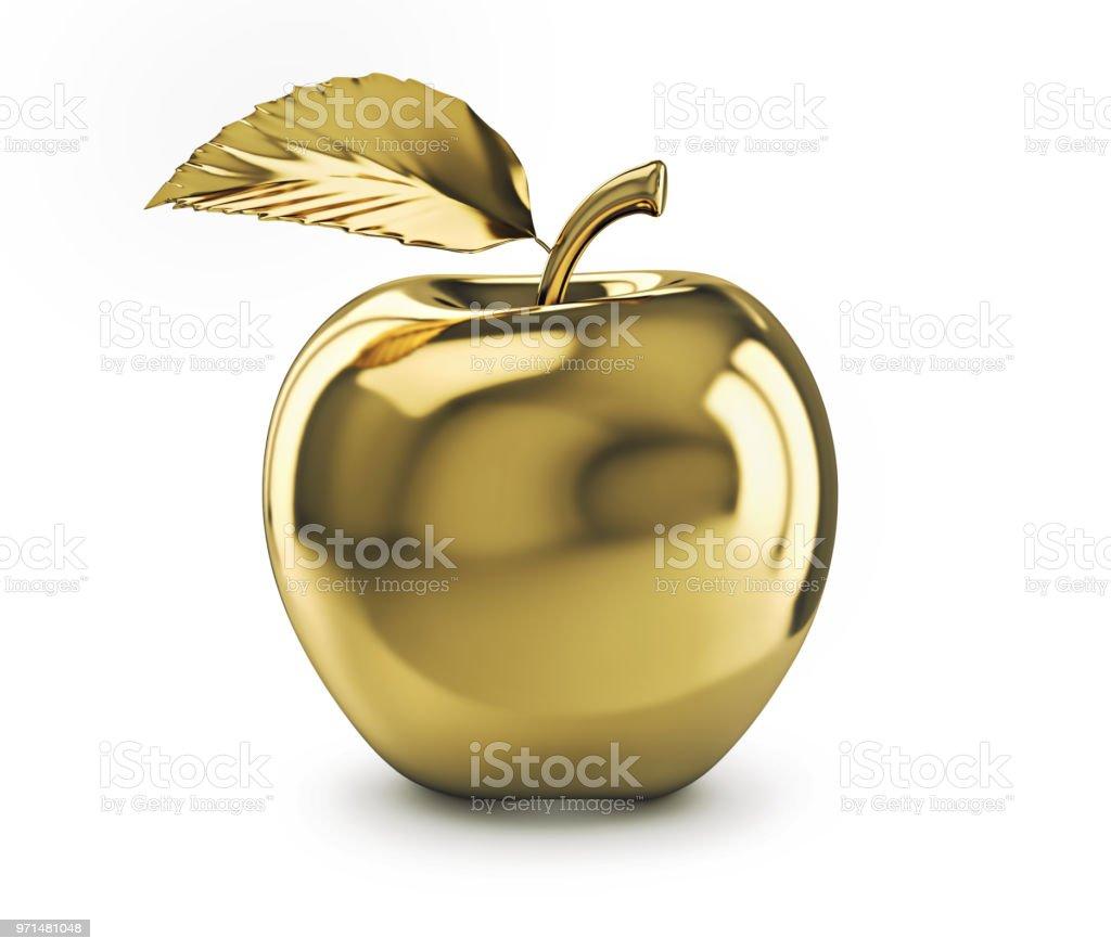Manzana de oro aislada sobre fondo blanco foto de stock libre de derechos