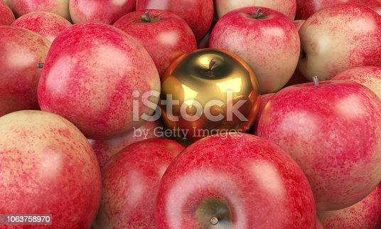 Golden apple in the middle of red apples. ( 3d render )
