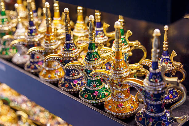 Golden arabic Coffee pot in grand bazaar. stock photo