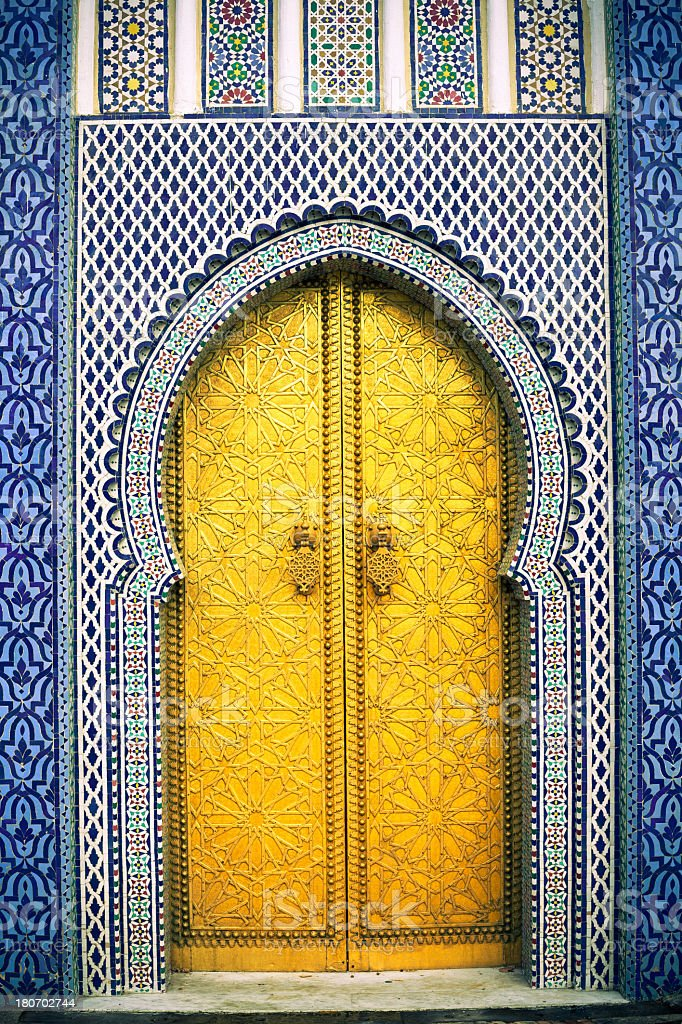 Golden Arabic Door in Fez Morocco stock photo & Royalty Free Moroccan Doors Pictures Images and Stock Photos - iStock