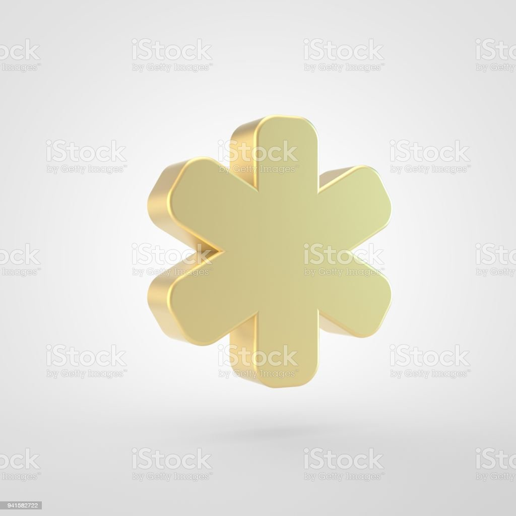 Golden asterisk icon isolated on white background. - foto stock
