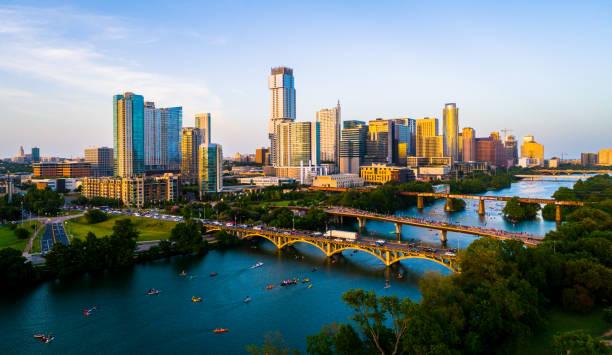 Golden Austin Texas sunset over Cityscape stock photo