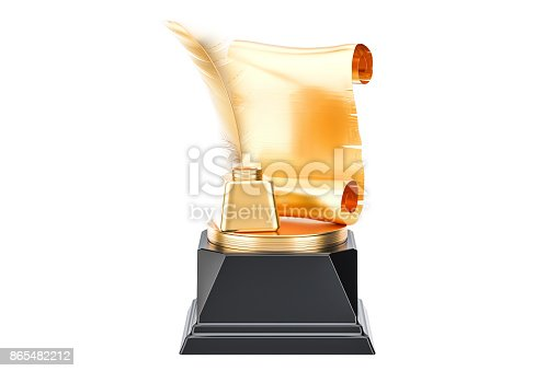 istock Golden Award, best publication or writer concept. 3D rendering isolated on white background 865482212
