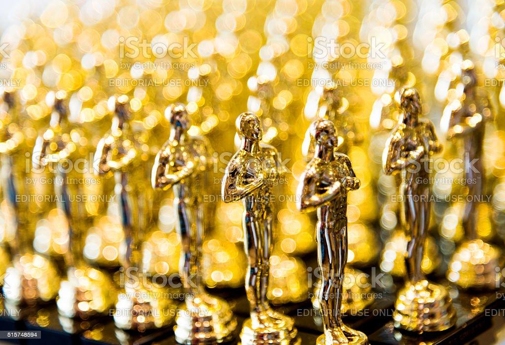 Golden award statues clone stock photo