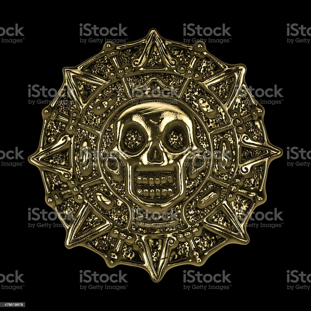 golden aztec pirate coin stock photo