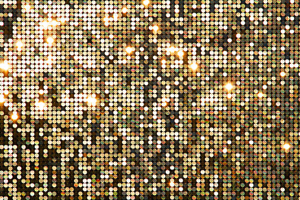 golden background mosaic with light spots - nightclub stock photos and pictures