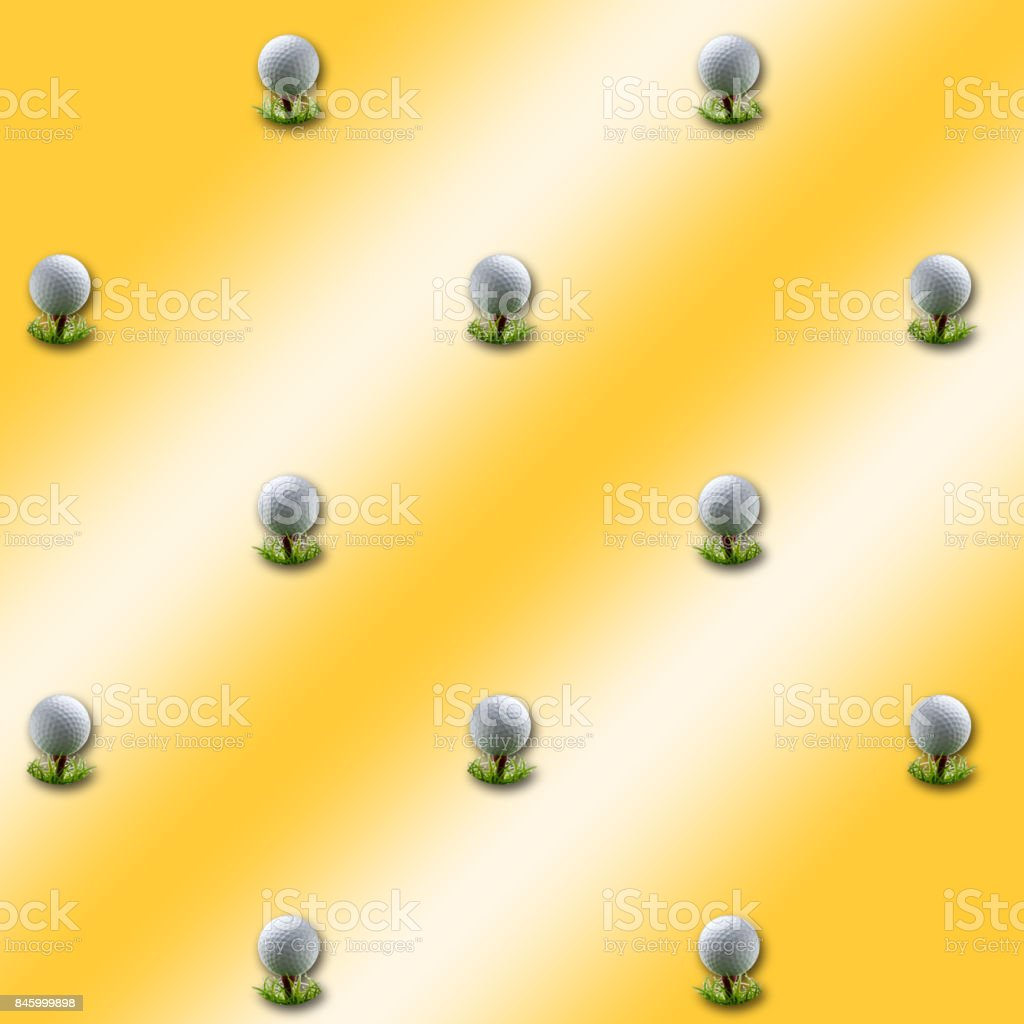 3D, Golden background, with golfball on tees equally spread. stock photo