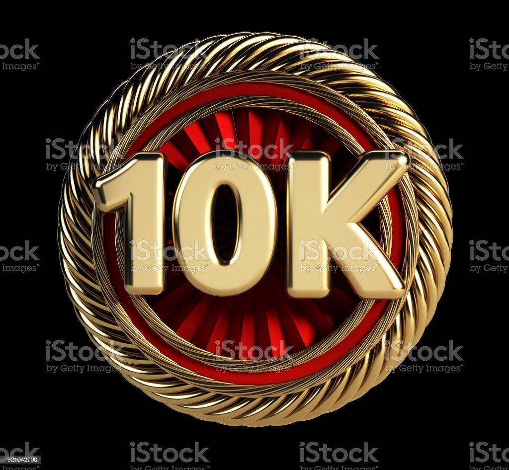 Crachá de ouro 10k. 10 mil seguidores Web ícone. - foto de acervo