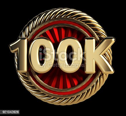 istock 100K Golden Badge. 100 Thousand Followers Web Icon. 921042626
