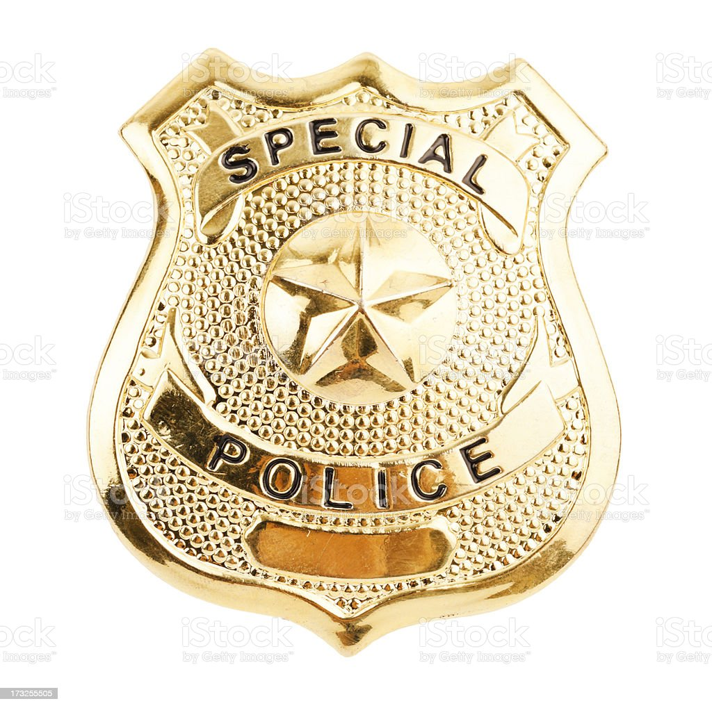A golden badge saying special police stock photo