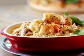 Golden baked seafood lasagna