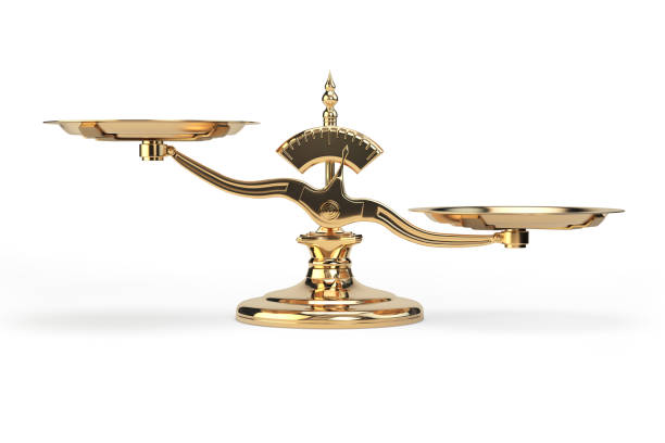 golden balance scales isolated on white background. - scale stock photos and pictures