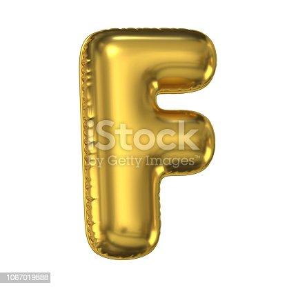 964199358istockphoto Golden balloon font 3d rendering, letter F 1067019888