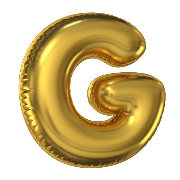 Golden balloon font 3d rendering, letter G stock photo