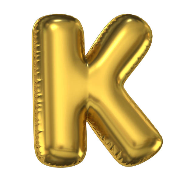 Golden balloon font 3d rendering, letter K Golden balloon font 3d rendering, letter K isolated illustration k icon stock pictures, royalty-free photos & images