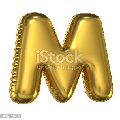 964199358istockphoto Golden balloon font 3d rendering, letter M 1067020796